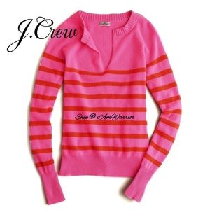 J.Crew candy striped cashmere pullover sweater